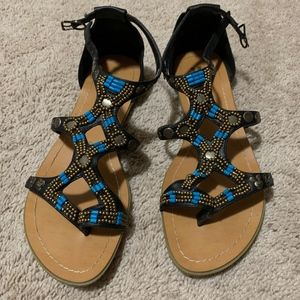 Miss Me Star Sandals Black Turquoise 8.5